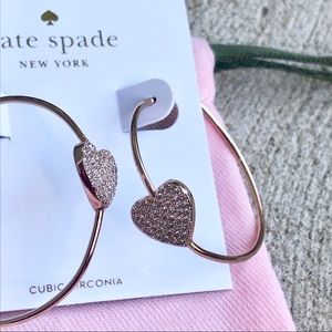 Kate Spade Yours Truly Rose Gold Pave Hoops